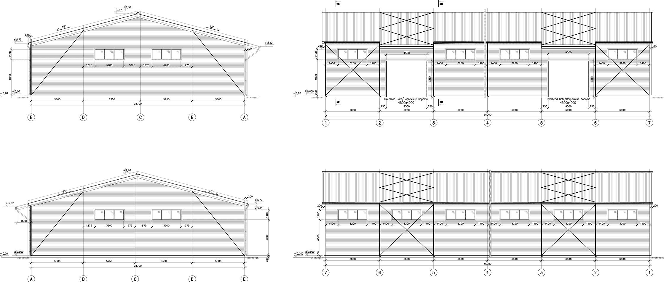 Чертежи фасадов быстровозводимого здания склада