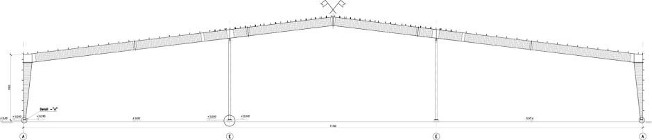 Главная рама несущей конструкции быстровозводимого производственного здания